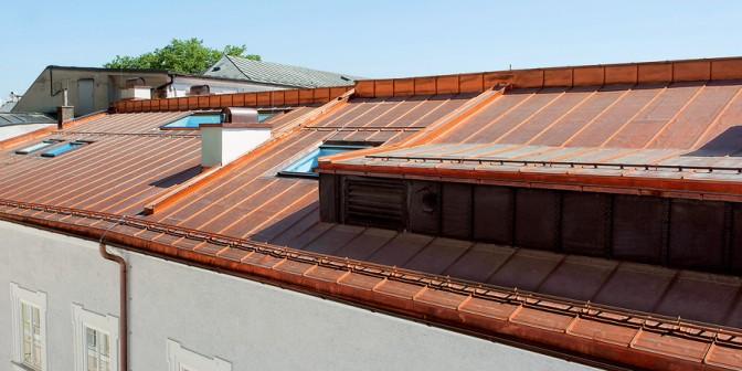 Flat roof Rhepanol in copper look
